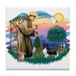 St. Francis #2 / Sheltie (bb) Tile Coaster