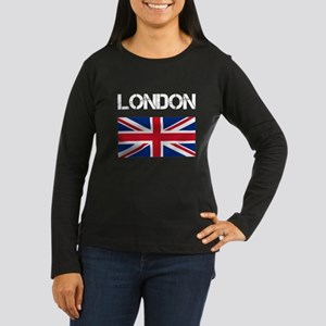 London Union Jack Women's Long Sleeve Dark T-Shirt