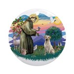 St. Francis #2 / Yellow Lab Ornament (Round)