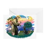 St.Francis #2 / Black Lab Greeting Cards (Pk of 10