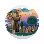 St Francis #2/ Yorkies (4) Ornament (Round)
