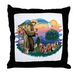 St Francis #2/ Yorkies (4) Throw Pillow