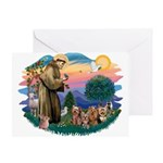 St Francis #2/ Yorkies (4) Greeting Card