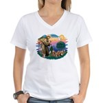 St Francis #2/ Yorkies (4) Women's V-Neck T-Shirt