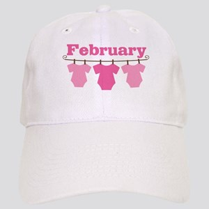 Pink February Baby Announcement Cap