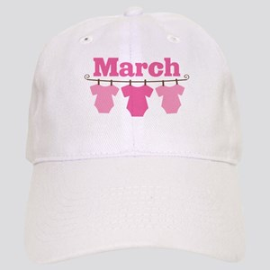 Pink March Baby Announcement Cap