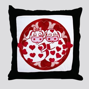 Whimsical Cow Love Art Throw Pillow