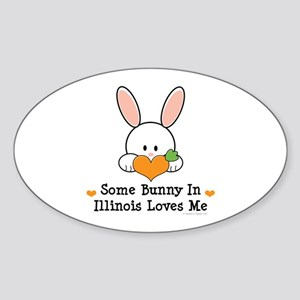 Some Bunny In Illinois Loves Me Sticker (Oval)