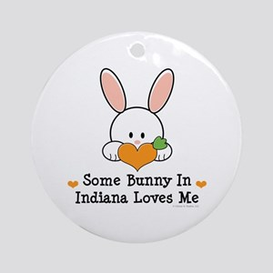 Some Bunny In Indiana Loves Me Ornament (Round)