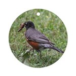Robin with Worm Ornament (Round)