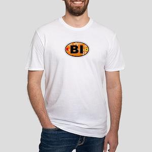 Block Island RI - Oval Design. Fitted T-Shirt