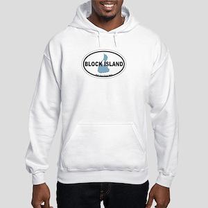 Block Island RI - Oval Design. Hooded Sweatshirt