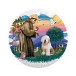 St Francis #2 / Old English (#6) Ornament (Round)