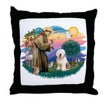 St Francis #2 / Old English (#6) Throw Pillow
