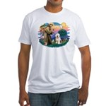 St Francis #2 / Old English (#6) Fitted T-Shirt