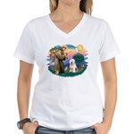 St Francis #2 / Old English (#6) Women's V-Neck T-