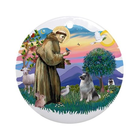 St Francis #2 / Keeshond Ornament (Round)