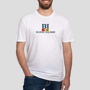 Block Island RI - Nautical Design Fitted T-Shirt