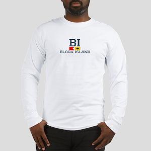 Block Island RI - Nautical Design Long Sleeve T-Sh
