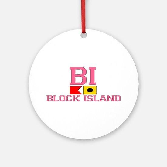 Block Island RI - Nautical Design Ornament (Round)