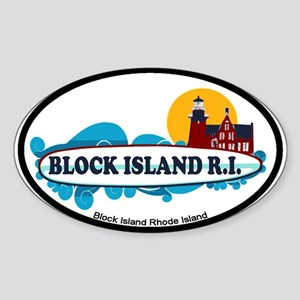 Block Island RI - Surf Design Sticker (Oval)