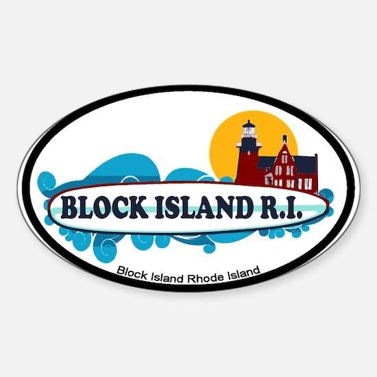 Block Island RI - Surf Design Sticker (Oval)
