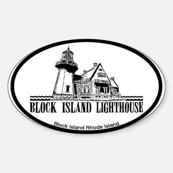 Block Island Lighthouse Design Sticker (Oval)