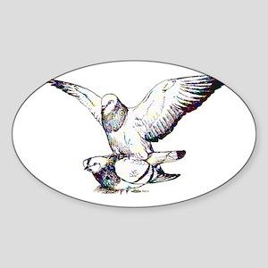 Pigeon Love Sticker (Oval)