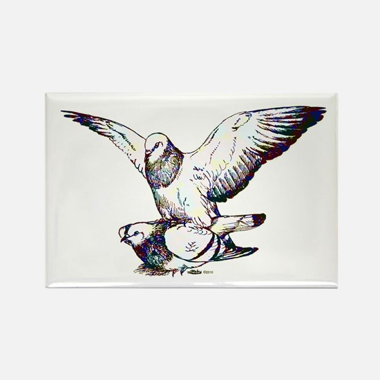 Pigeon Love Rectangle Magnet