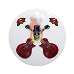 TopHat Flaming Skull Rock n' Ornament (Round)