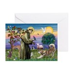 St Francis #2 / Red Husky Greeting Cards (Pk of 10