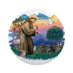 St Francis #2/ Pugs (2 black) Ornament (Round)