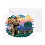 St Francis #2/ Pugs (2 black) Greeting Cards (Pk o
