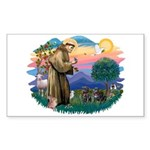 St Francis #2/ Pugs (2 black) Sticker (Rectangle)