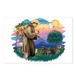 St Francis #2/ Pugs (2 black) Postcards (Package o