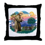 St Francis #2/ Pugs (2 black) Throw Pillow