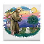 St Francis #2 / Maltese (C) Tile Coaster