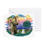 St Francis #2 / Maltese (C) Greeting Cards (Pk of