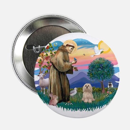"St Francis #2/ Lhasa Apso #9 2.25"" Button"