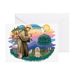 St Francis #2/ Lhasa Apso #9 Greeting Cards (Pk of