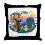 St Francis #2/ Lhasa Apso #9 Throw Pillow