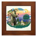 St Francis #2 / Lhasa Apso (R) Framed Tile