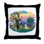 St Francis #2 / Lhasa Apso (R) Throw Pillow