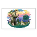 St Francis #2 / Lhasa Apso (R) Sticker (Rectangle