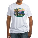 St Francis #2 / Lhasa Apso (R) Fitted T-Shirt