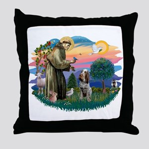 St Francis #2/ Spinone Throw Pillow