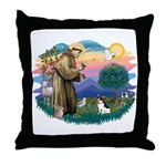 St. Francis #2 / Rat Terrier Throw Pillow