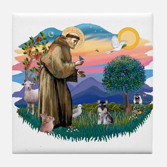 St Francis #2 /Schnauzer (min) Tile Coaster