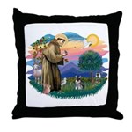 St Francis #2 /Schnauzer (min) Throw Pillow