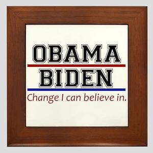 Obama Biden Change Framed Tile